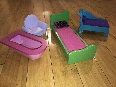 KidKraft Wooden+ Plastic Barbie Doll House Furniture-Bed/chaise/armchair/bathtub