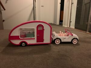 Kids toy doll set car and caravan