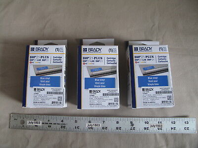 3 New Brady Label Cartridge M21-375-595-bl White On Blue Vinyl 38 X21 Bmp21