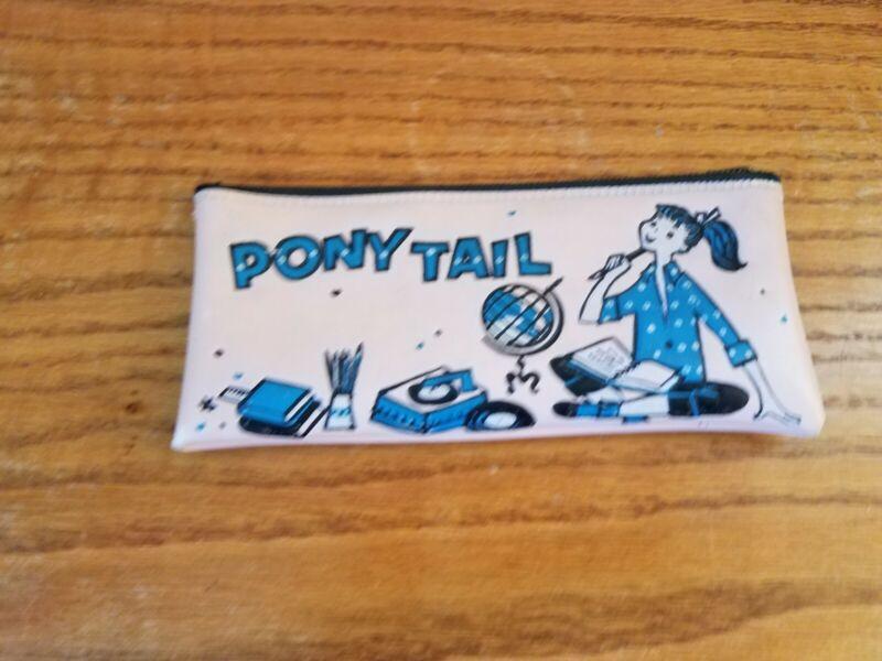 Vintage Pony Tail Pink Vinyl Pencil Case