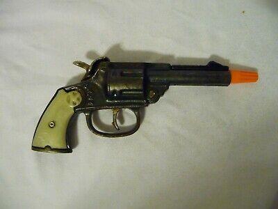 VINTAGE D-LUX TOY CAP GUN WHITE PEARL GRIPS CAST IRON