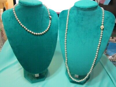 Faux Pearl Necklaces In Bulk (Gold Tone Lot of 2 Glass Faux Pearl Necklaces 16