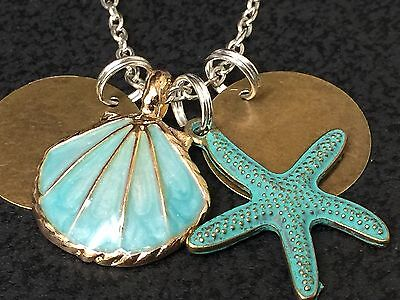 Beach Theme Sea Shell Gold & Teal Starfish Charm Tibetan Silver 18