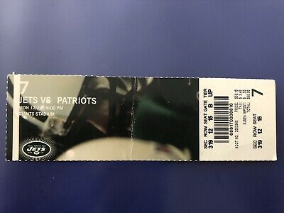 New England Patriots Ticket Stub Tom Brady v NY Jets Win#58 2 TDs 12/26/2005