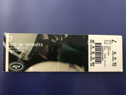 New England Patriots Ticket Stub Tom Brady v NY Jets Win#58 2 TDs 12/26/2005
