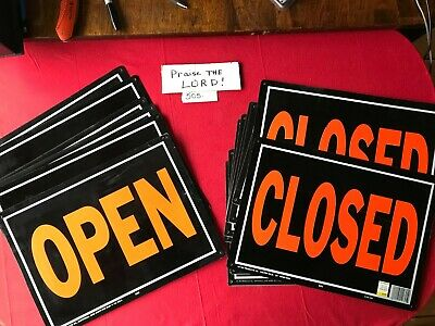 21- 10 X 14 Open Closed Reversible Metal Signs 21