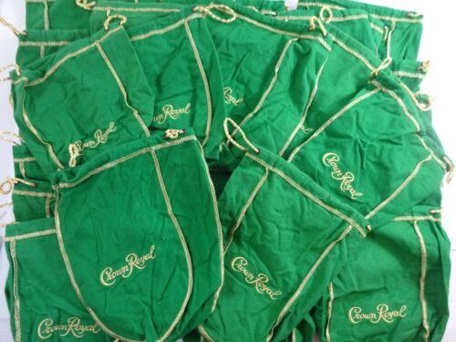 """Lot of 20 Crown Royal 750ml / 1 Liter Green Drawstring Bags 9"""" Medium Size"""