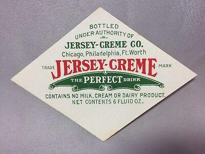 1930s JERSEY-CREME SODA Bottle LABEL Vintage Original