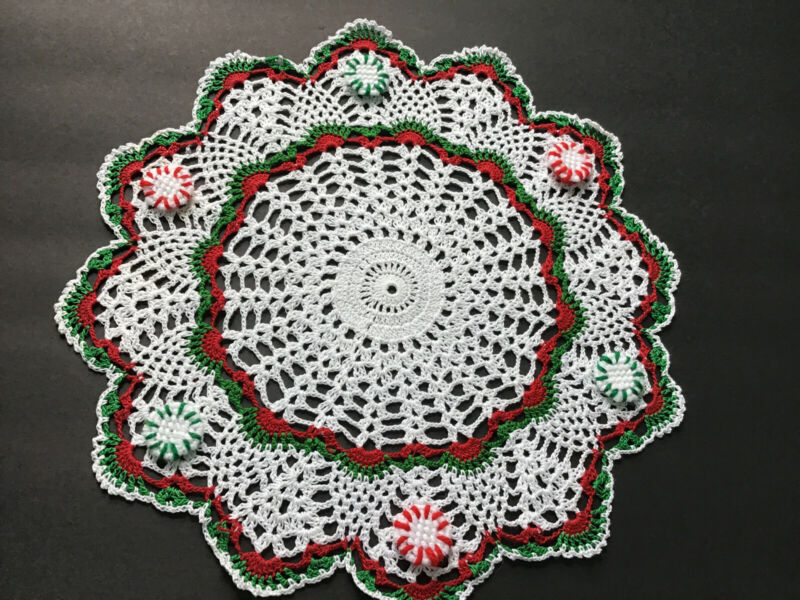 Brand New Hand Crocheted Christmas Peppermints Doily