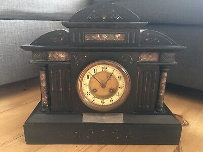 Antique Victorian S Marti French Slate Marble Mantel Clock Architectural Ornate