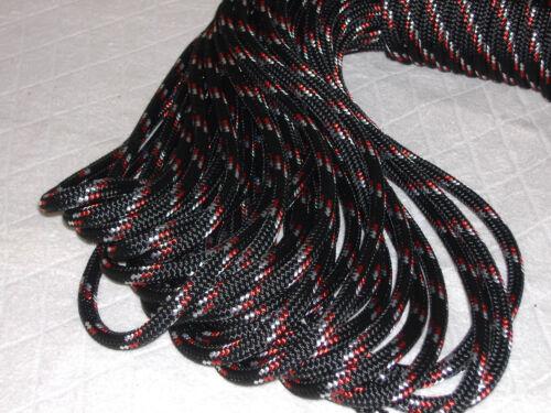 "Double Braid Polyester 3/8""x 100 feet yacht braid halyard line black red white"