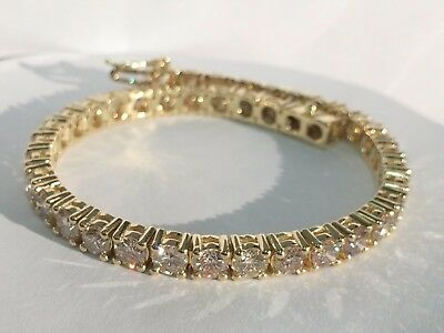 10.25CT ROUND CUT DIAMONDS TENNIS BRACELET 14k YELLOW GOLD CERTIFIED F-VS1