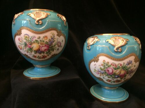 Pair of Sevres style Minton Hand Painted Porcelain Vases