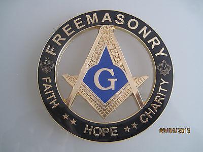 New Masonic Master Mason Cut out Car  Emblem Gold/Black
