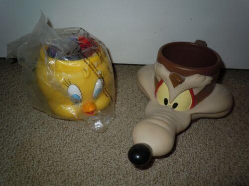 TWEETY BIRD WILE E. COYOTE 1992 KFC Vintage LOONEY TUNES Plastic Mug LOT Set NEW