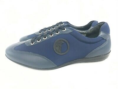 Versace Collection Men's Blue Canvas Leather Shoes Mismatch sz 44,42 READ