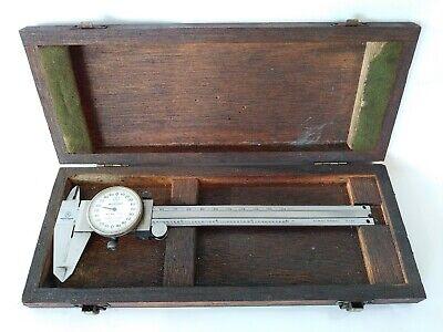 Mitutoyo 6 Dial Caliper No. 505-626-50 In Original Wood Box Vintage