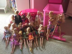 Barbies + Car and a storage container