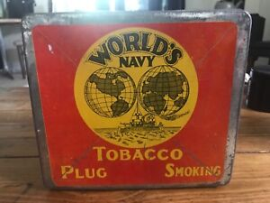 World's Navy Plug Smoking Tobacco Tin Tobacco Co. Quebec Canada