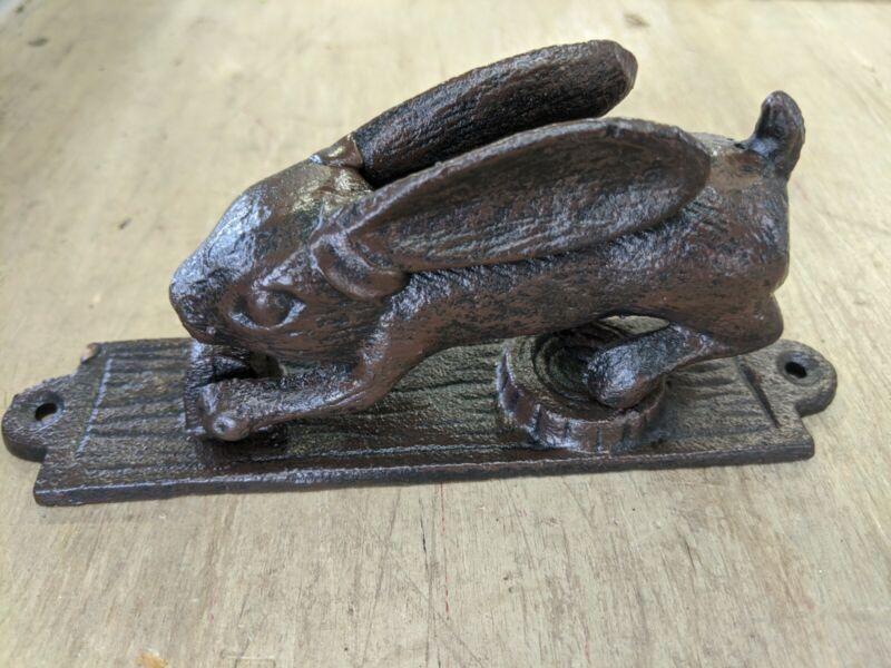 Rabbit Hare Bunny Door Knocker Brown Cast Iron Rustic shabby