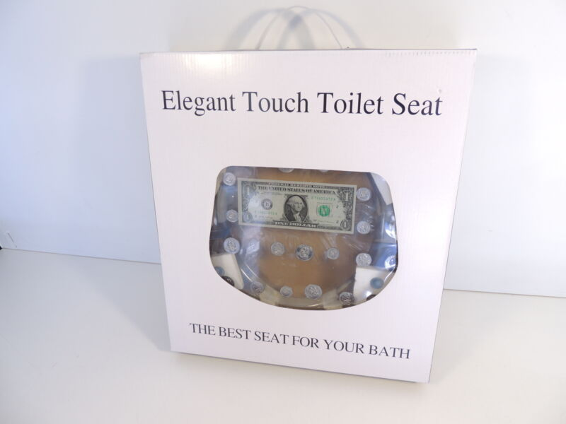 Elegant Touch Money Toilet Seat Clear Dollar Coins New