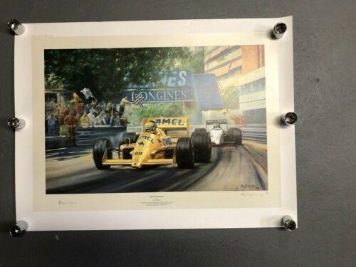 """Alan Fearnley """"Monaco Double"""" Print Ayrton Senna #150/850*"""