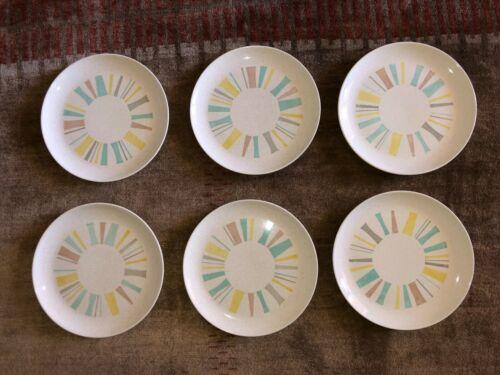 Set of 6 MCM Vernonware Anytime Dinner Plates See Description
