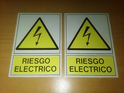1 SEÑAL PLACA ALUMINIO ADHESIVA RIESGO ELECTRICO - ALTA TENSION 150X105MM NUEVO