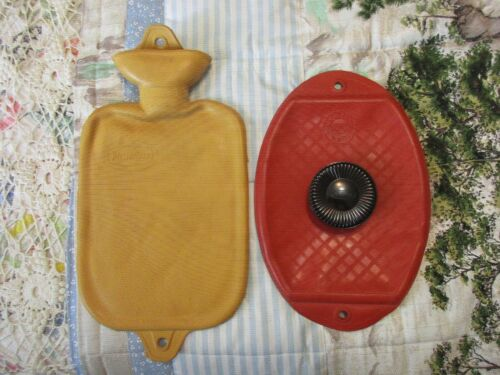 """Vintage Hot Water Bottle Classic Red & Checkered Yellow """"Faultless"""" ~Davol~ USA"""