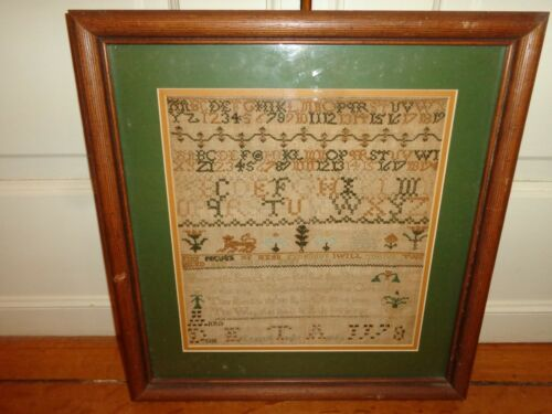 Rare Antique 1778 Figural, Alphabet, Numerical Cross Stitch Needlework Sampler