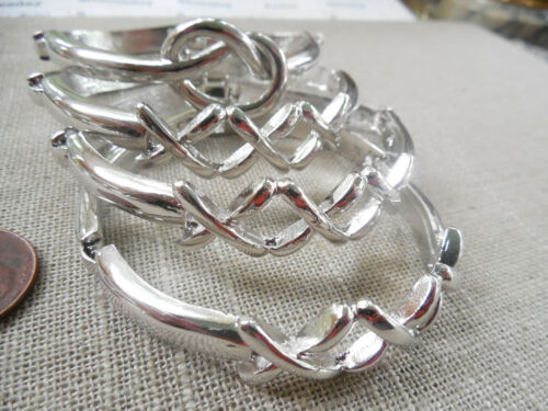 Vintage NOS quality lot of 4 hinged silver tone triple X knot bracelets D86 #5