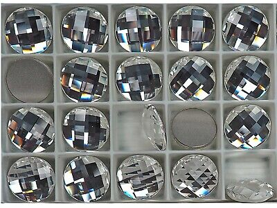 Swarovski Art.# 2014 - 18mm Crystal clear, 6pcs Round Checker Board Flatbacks Checker Crystal