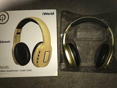 iWorld Metallic Wireless Headphones Bluetooth Headphones Gold colour