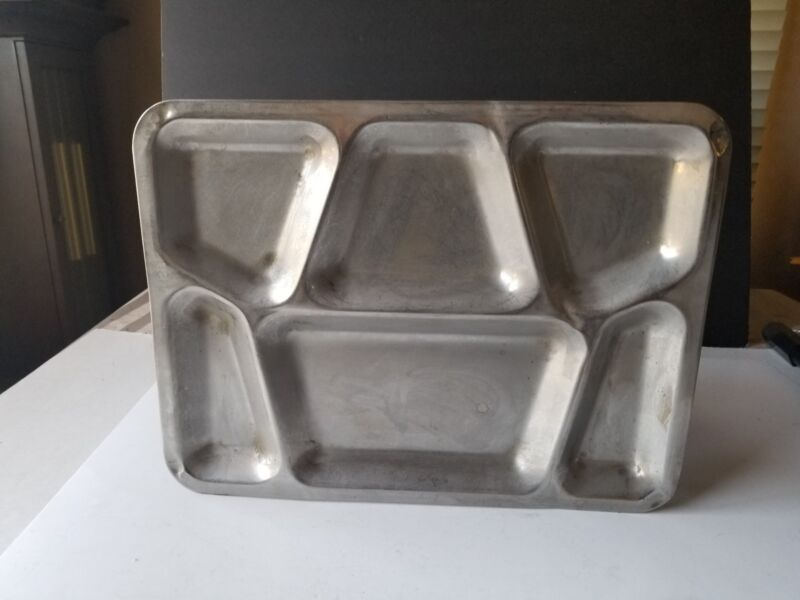 VTG USN  Military Mess Hall Cafeteria Trays Stainless Steel Metal B1