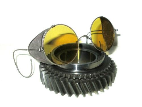 Antique Amber Goggles Sunglasses Yellow Safety Glasses Vtg Retro Steampunk Specs