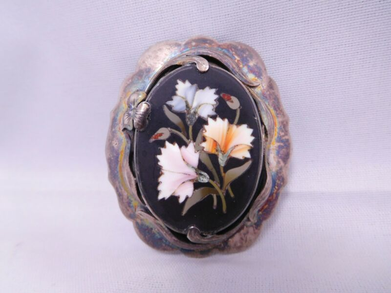 VICTORIAN MOURNING STERLING SILVER PIETRA DURA INLAID MOSAIC FLOWER PIN PENDANT