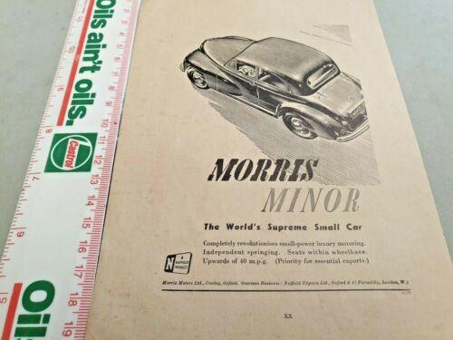 1949 MORRIS MINOR Original Sales Advert UK