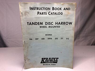 Krause 196-212 Tandem Disc Harrow Instruction Book Parts Catalog Vintage