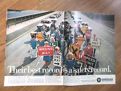 1968 Chrysler Plymouth Dodge Imperial Ad Best Record is a Safety Record