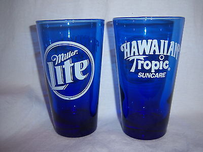 (2) MILLER LITE HAWAIIAN TROPIC glass tumblers-COBALT BLUE-beer-ANCHOR HOCKING