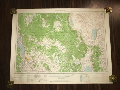 1958 KLAMATH FALLS OREGON CALIFORNIA GEOLOGICAL RARE ANTIQUE MAP