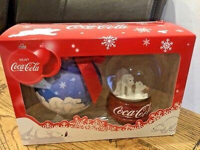 COCA COLA Coke Polar Bear SNOW GLOBE and HANDCRAFTED Christmas Tree BAUBLE NEW