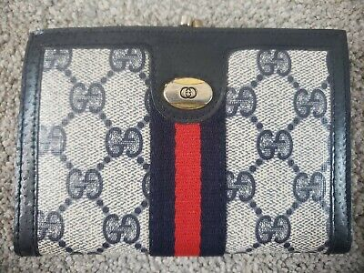 GUCCI ACCESSORY COLLECTION Vintage 1970's Navy Monogram Wallet RARE