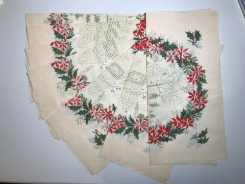 Beautiful Holly Napkins Crepe Complete Original Package Christmas Poinsettia