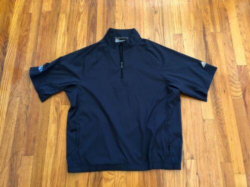 Adidas Men GOLF ¼ Zip ClimaProof Wind Pullover Half Sleeve Jacket - BLUE - LARGE