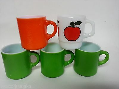 5 MID CENTURY MODERN MILK GLASS COFFEE MUGS GREEN ORANGE FIRE-KING RED APPLE