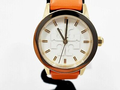 New Tory Burch The Gigi Gold-Tone and Orange Leather Watch -BBL659M3A5