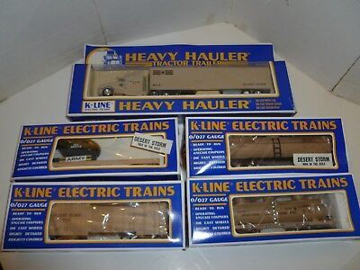 K-Line Desert Storm train 4 army cars and tractor trailer O gauge - Helicopter