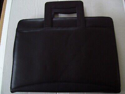 Unisex Zippered Leather Slim Portfolio Organizer Briefcase Retrctable Handle