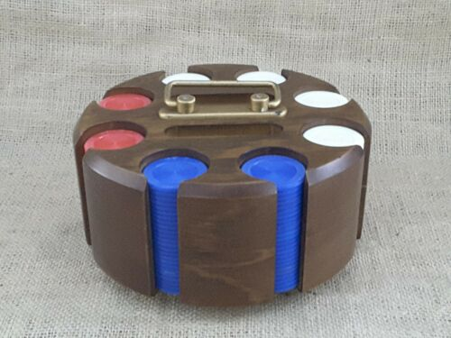 Drueke No. 506 Walnut Wood Poker Chip Carrier Carousel Vintage